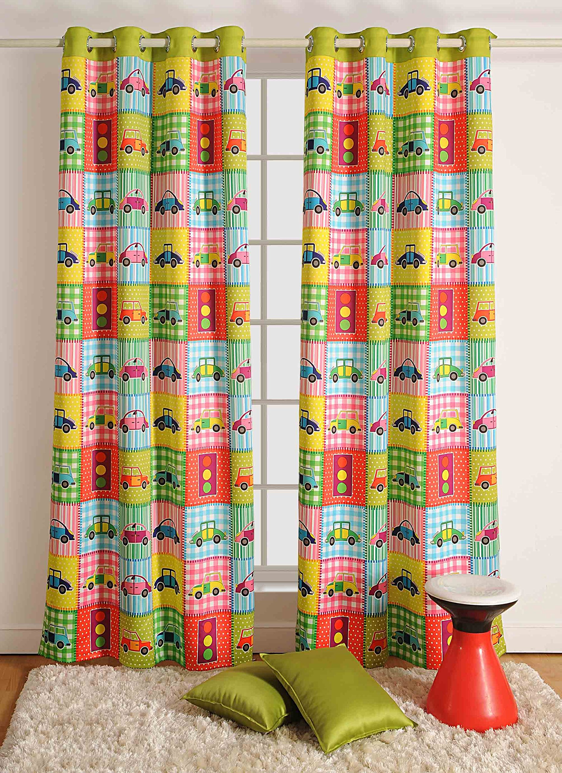 Blackout Polysatin Window Curtains for Boys Rooms -Automobile Digital Print - Set of 2 48''x 60'' Curtain Panels with Silver Grommets