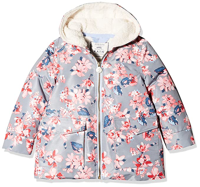 complete in specifications best selection of cheap sale Joules Girls' Raindrop Printed Fleece Lined Waterproof Coat