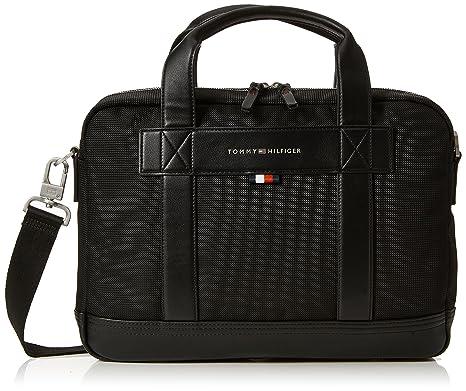 Tommy Hilfiger - Tailored Computer Bag, Bolsas para portátil Hombre, Negro (Black)