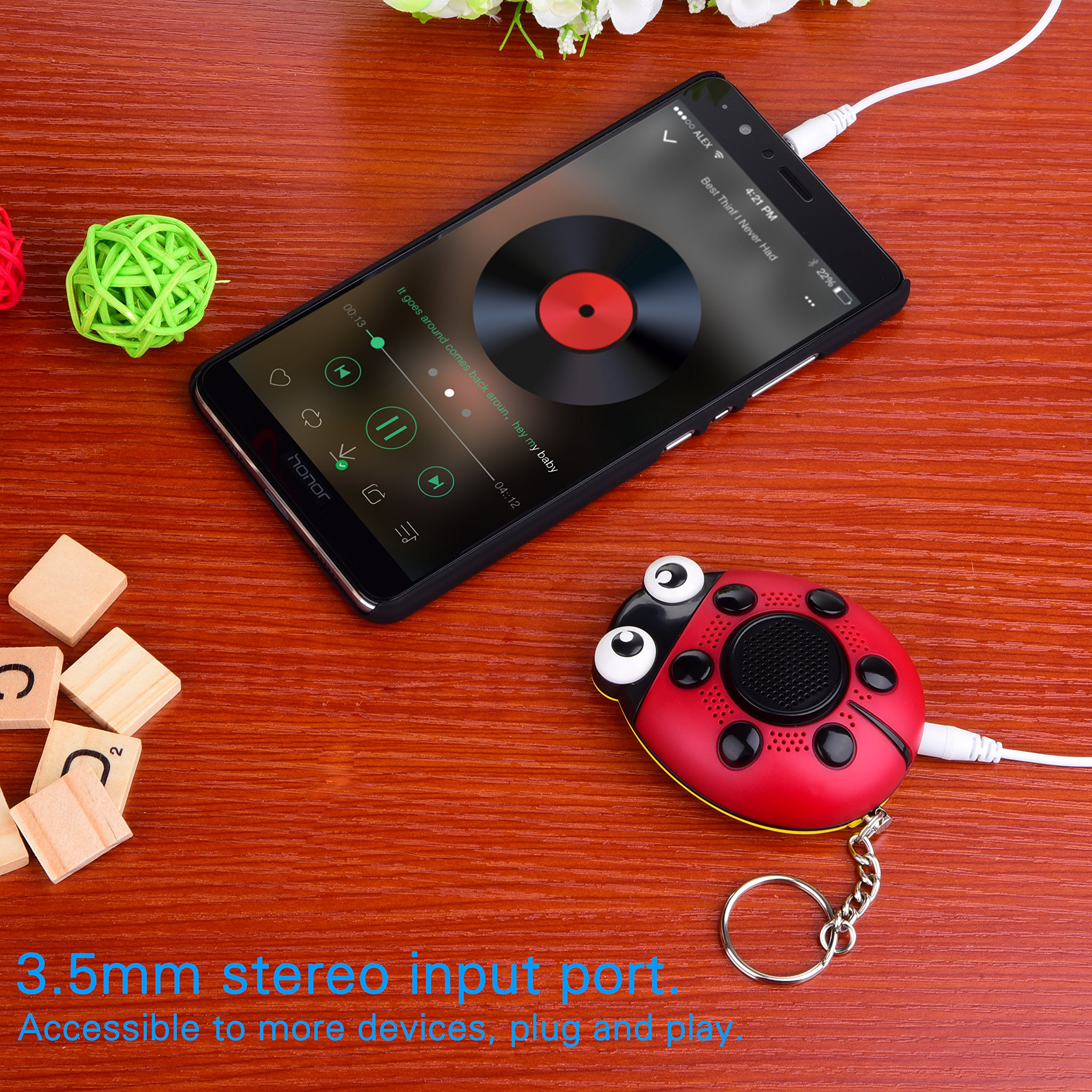 iDaye 130DB SOS with siren song voice Ladybug Emergency Personal alarm keychain,Protection Device with colorful flash work for kids/elderlies/owls and adults,Used as a speaker or electric torch. by iDaye (Image #6)