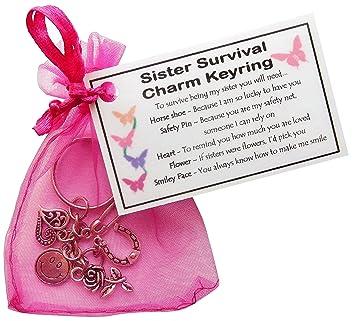 Sister Survival Charm Keyring Handmade Sister Gift For Sister