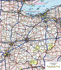 Large Detailed Roads and Highways map of Ohio State with All Cities and National Parks Vivid Imagery Laminated Poster Print-20 Inch by 30 Inch Laminated Poster With Bright Colors