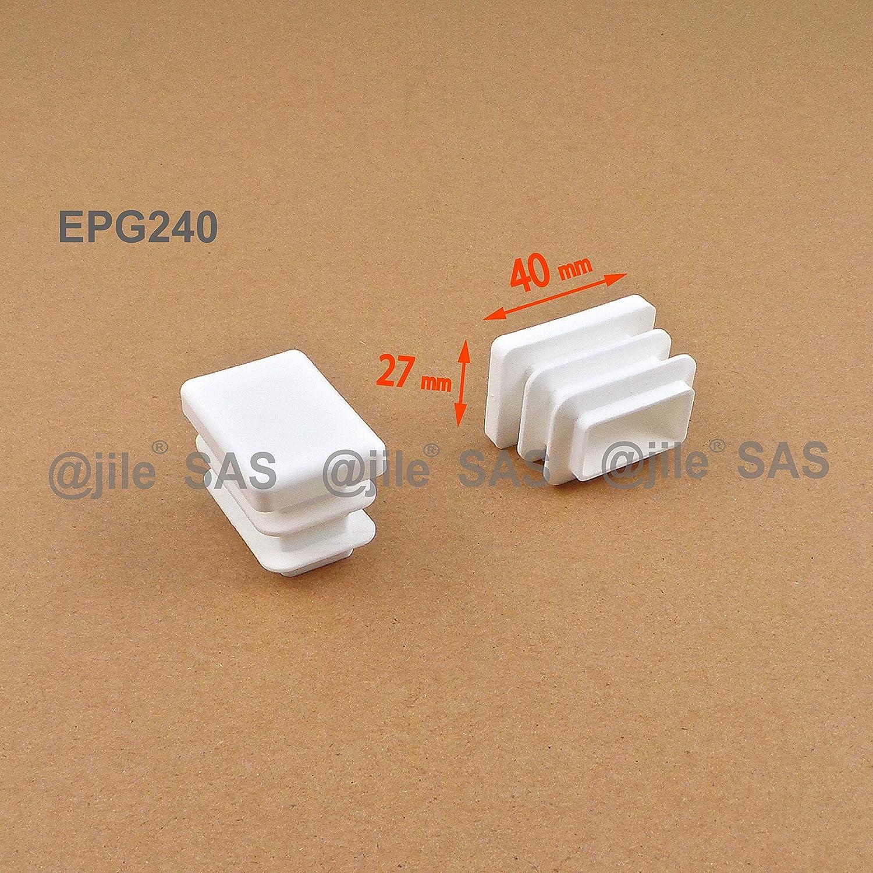 BLANC 4 pi/èces EPG240-M ajile Embout /à lamelles rectangulaire pour tubes 40 x 27 mm