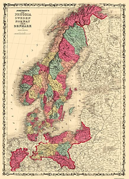 Amazon.com: Old Scandinavia Map - Prussia, Sweden, Norway, Denmark ...