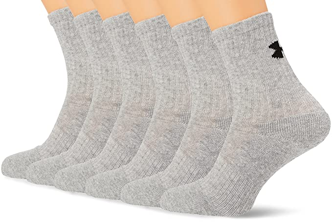 best loved a84a3 1aff2 Image Unavailable. Image not available for. Color  Under Armour Charged  Cotton 2.0 Crew Socks - Grey Large