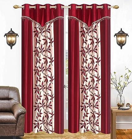 Saawaan Designer Polyester Kolaveri Door Curtain, 4 x 7ft(Maroon, VS7KD262) - Set of 2