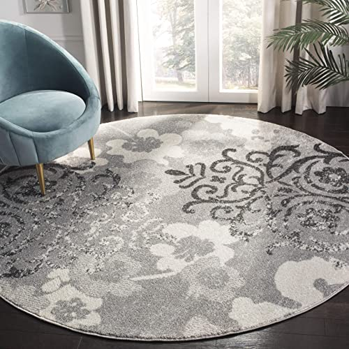 Safavieh Adirondack Collection ADR114B Contemporary Chic Floral Damask Distressed Area Rug, 11 Round, Silver Ivory
