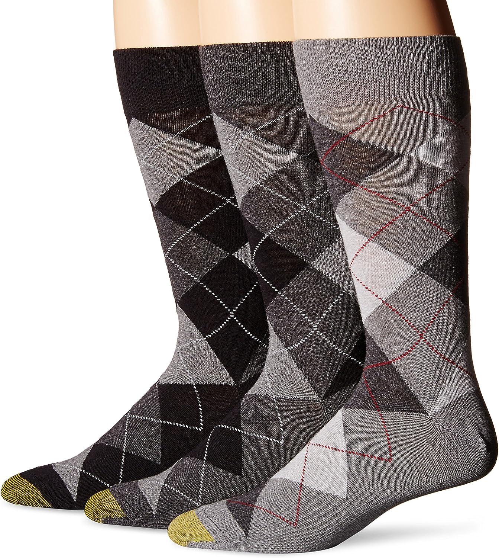 3 Pairs Gold Toe Mens Carlyle Argyle Crew Socks