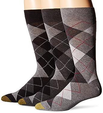 Gold Toe Mens Carlyle Argyle Crew Socks, Black Argyle/Grey Argyle/Dark Heather