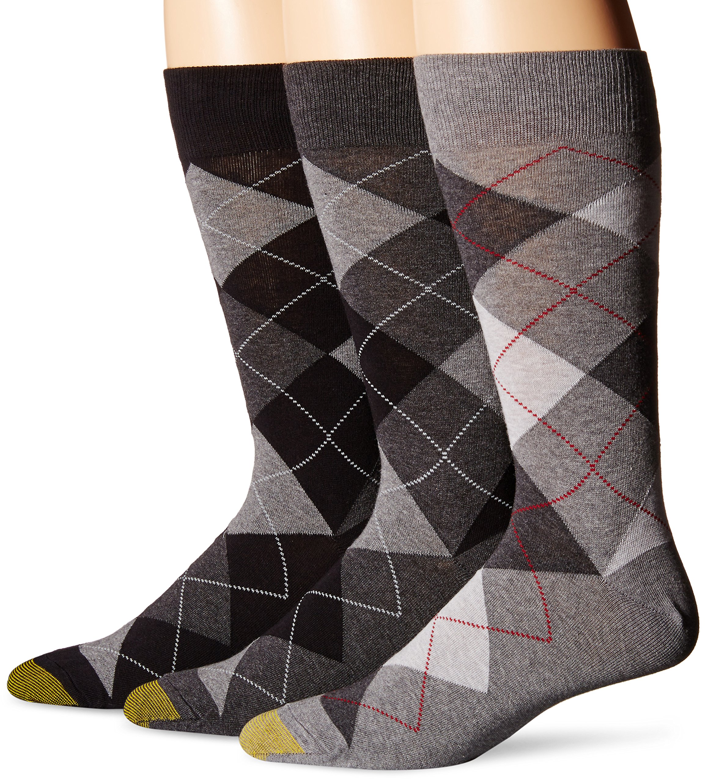 Gold Toe Men's 3-Pack Carlyle Argyle Crew Sock Black Grey Argyle Mix Shoe Size: 6-12.5 by Gold Toe
