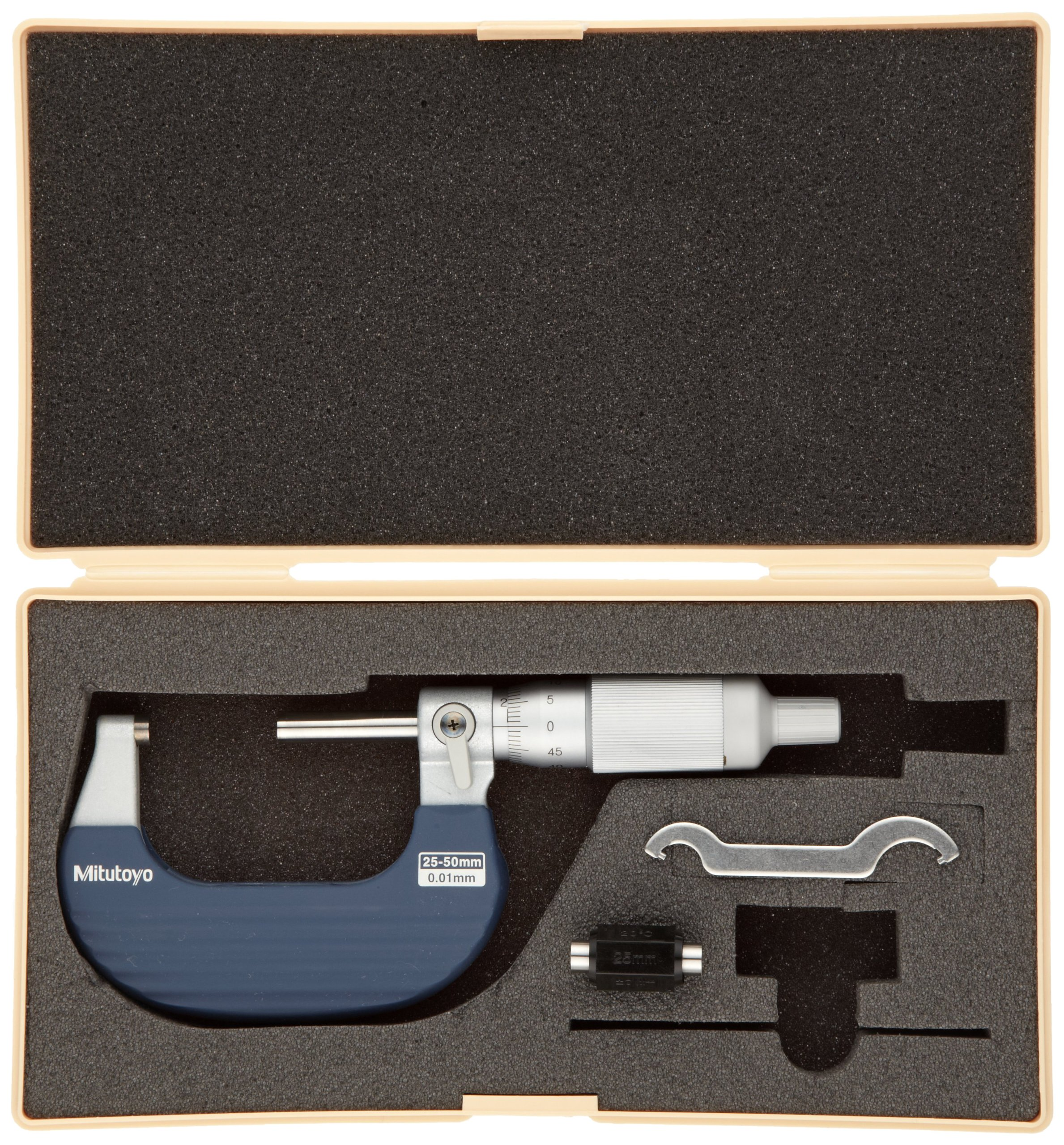 Mitutoyo 102-702 Ratchet Thimble Micrometer, Outside Micrometer, Ratchet Thimble, 25-50mm Range, 0.01mm Graduation, +/-0.002mm Accuracy