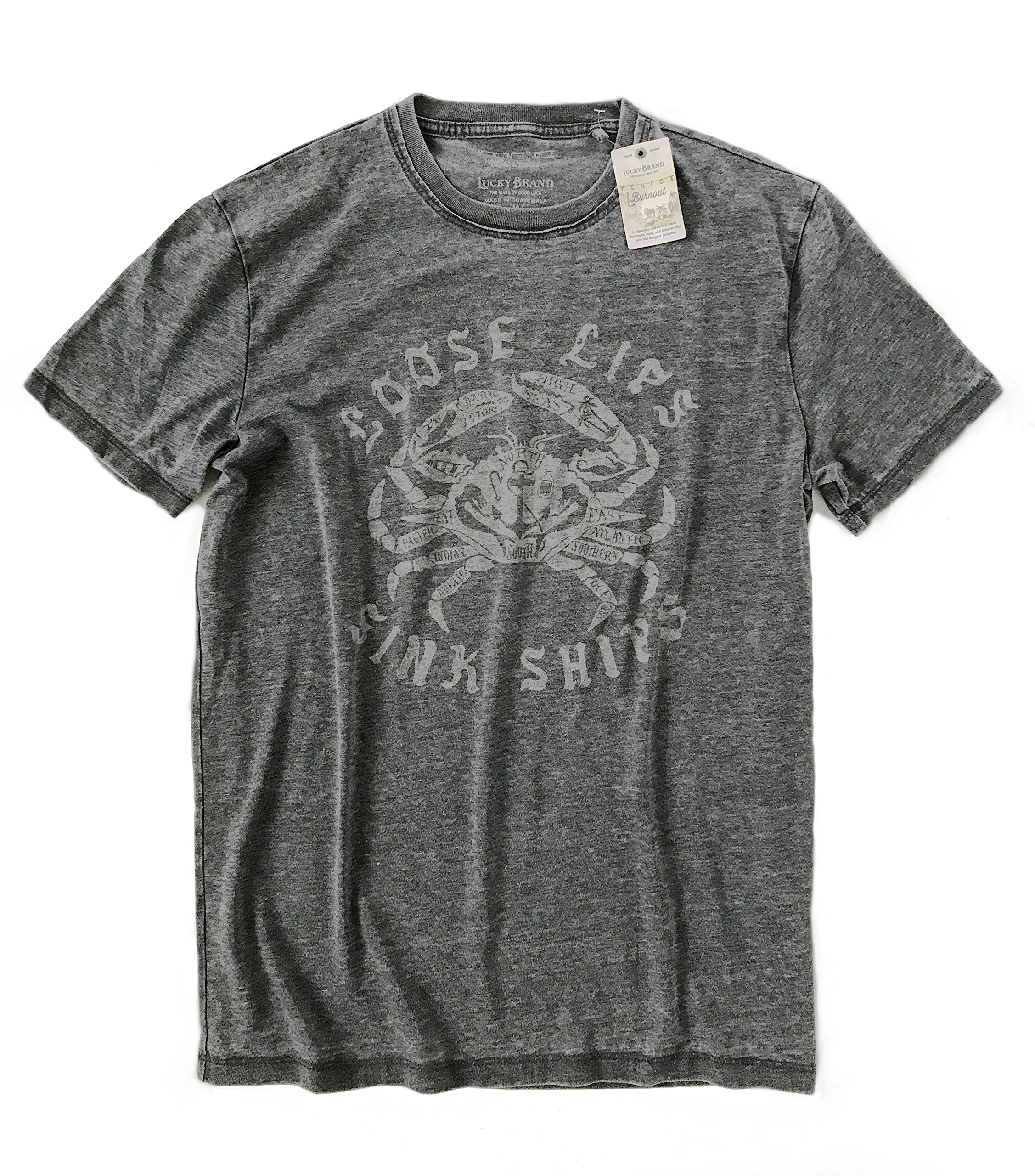 Lucky Brand Men's Distressed Loose Lips Sink Ships Crab Tee (Medium)