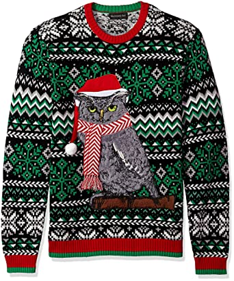 Blizzard Bay Mens Festive Owl Ugly Christmas Sweater Xx Large At
