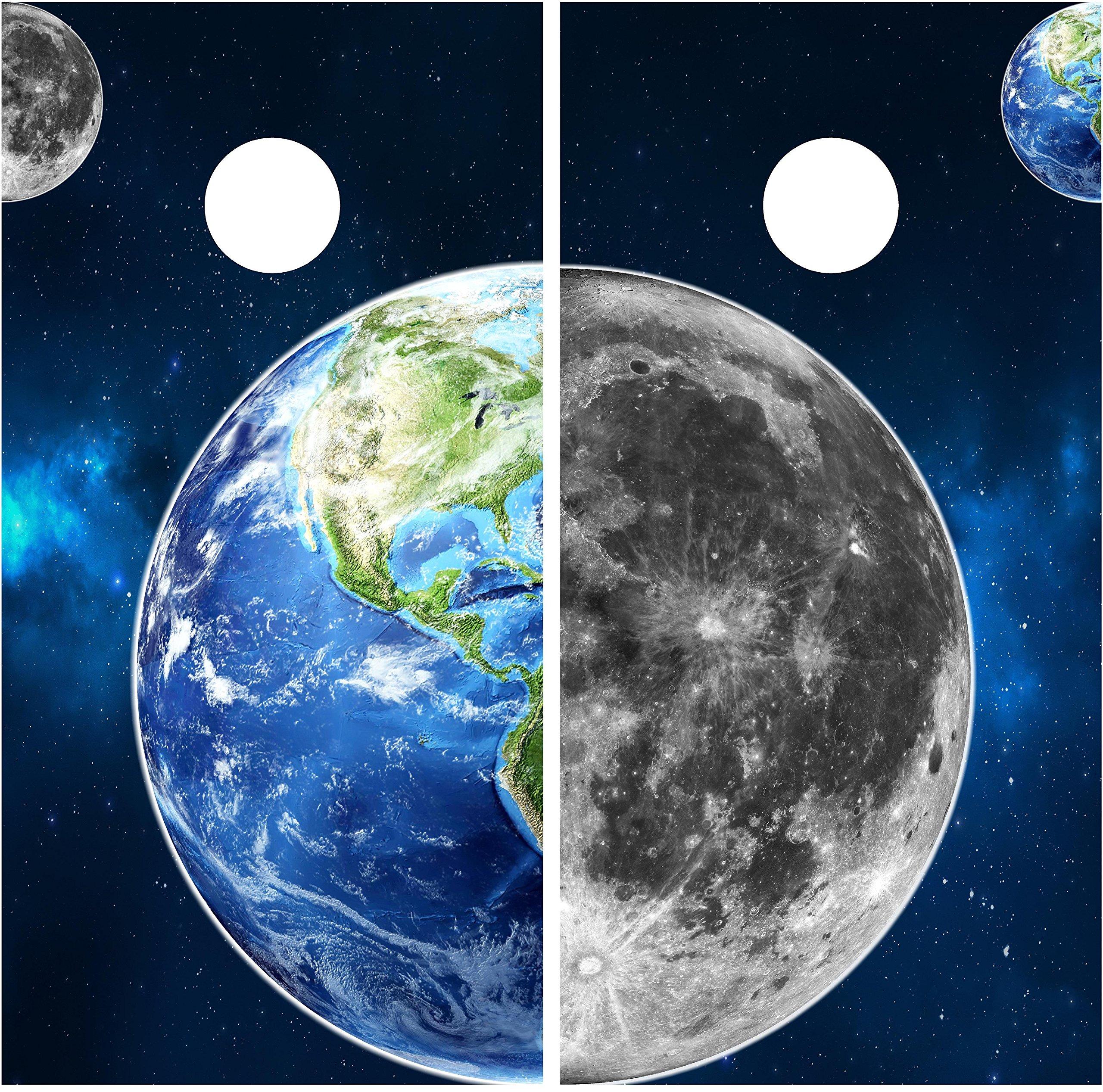 Earth & Moon Cornhole Wrap set, 2 decals (24'' x 48'') Space Solar system Custom Nebula Milky Way Galaxy Graphic sticker Backyard boards game by Stickit Graphix (Image #2)
