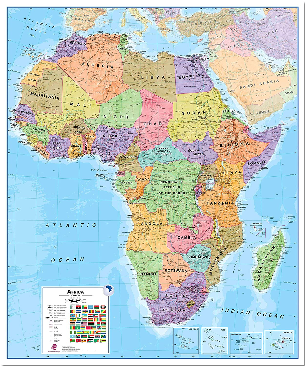 Map Of Africa Madagascar.Maps International Huge Political Africa Wall Map Laminated 46 X 55