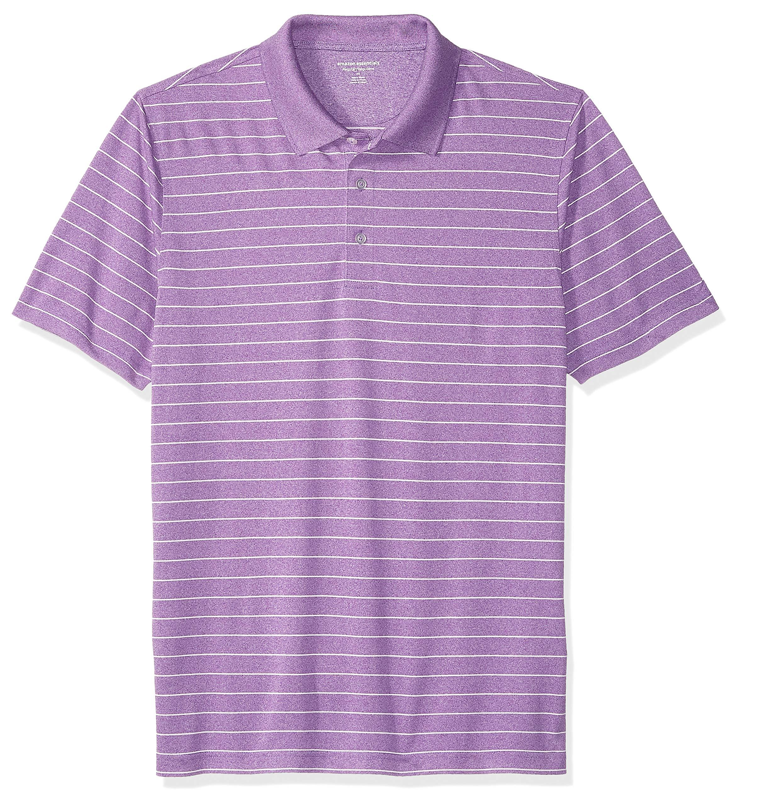 Amazon Essentials Men's Regular-Fit Quick-Dry Golf Polo Shirt, Purple Stripe, X-Small