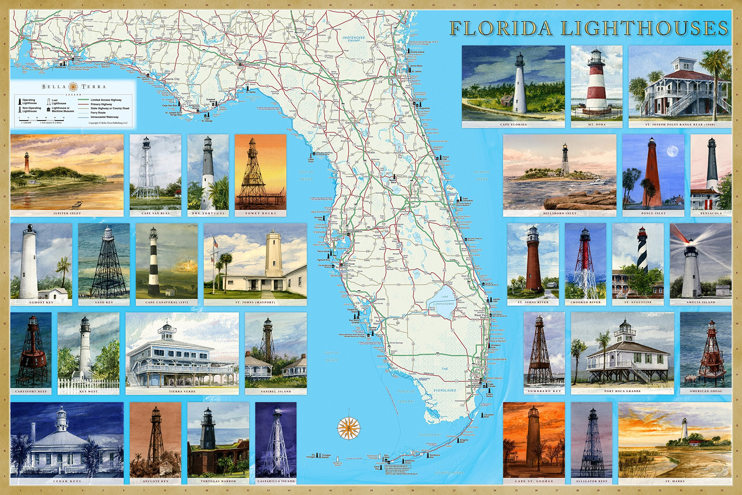 Florida Lighthouses Illustrated Map Guide Laminated Poster Bella Stander Gerald C Hill Gerald C Hill 9781888216318 Amazon Com Books