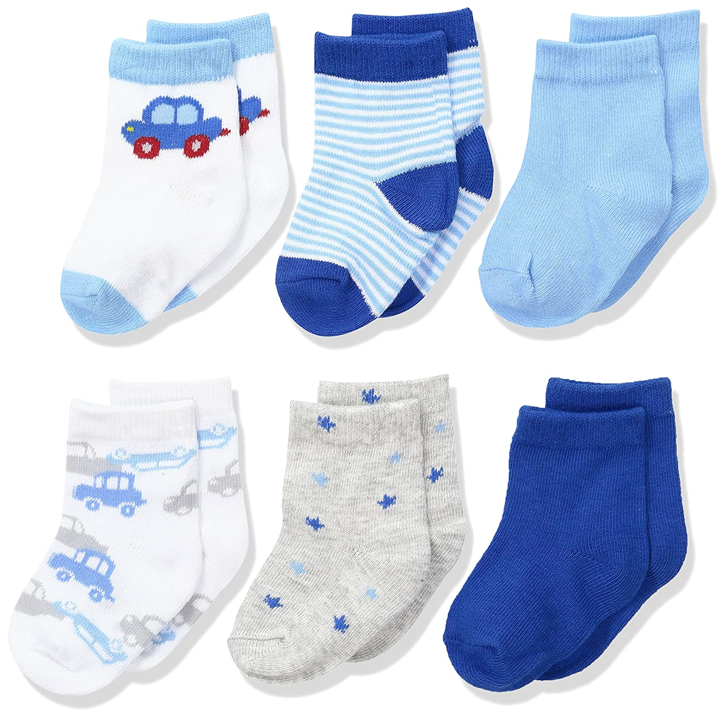 Rene Rofe Baby Newborn and Infant 6 Pack Socks, car 0-9 Months RSC189B