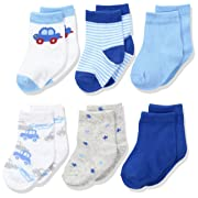 Rene Rofe Baby Baby Newborn and Infant 6 Pack Socks, car, 0-9 Months
