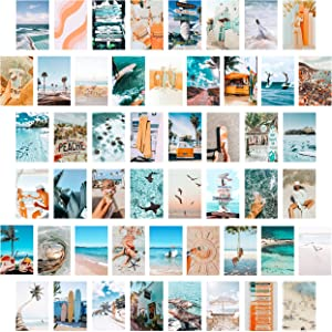 CY2SIDE 50PCS Blue Aesthetic Picture for Wall Collage, 50 Set 4x6 inch, Summer Beach Collage Print Kit, Fashion Room Decor for Girls, Room Wall Art Print, Dorm Photo Display, VSCO Posters for Bedroom