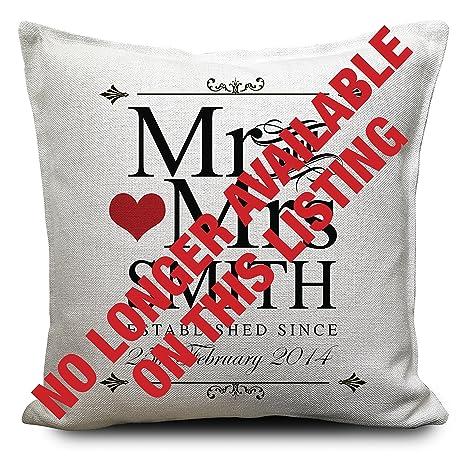 MR y Mrs personalizado Cojín Regalo San Valentín Aniversario ...