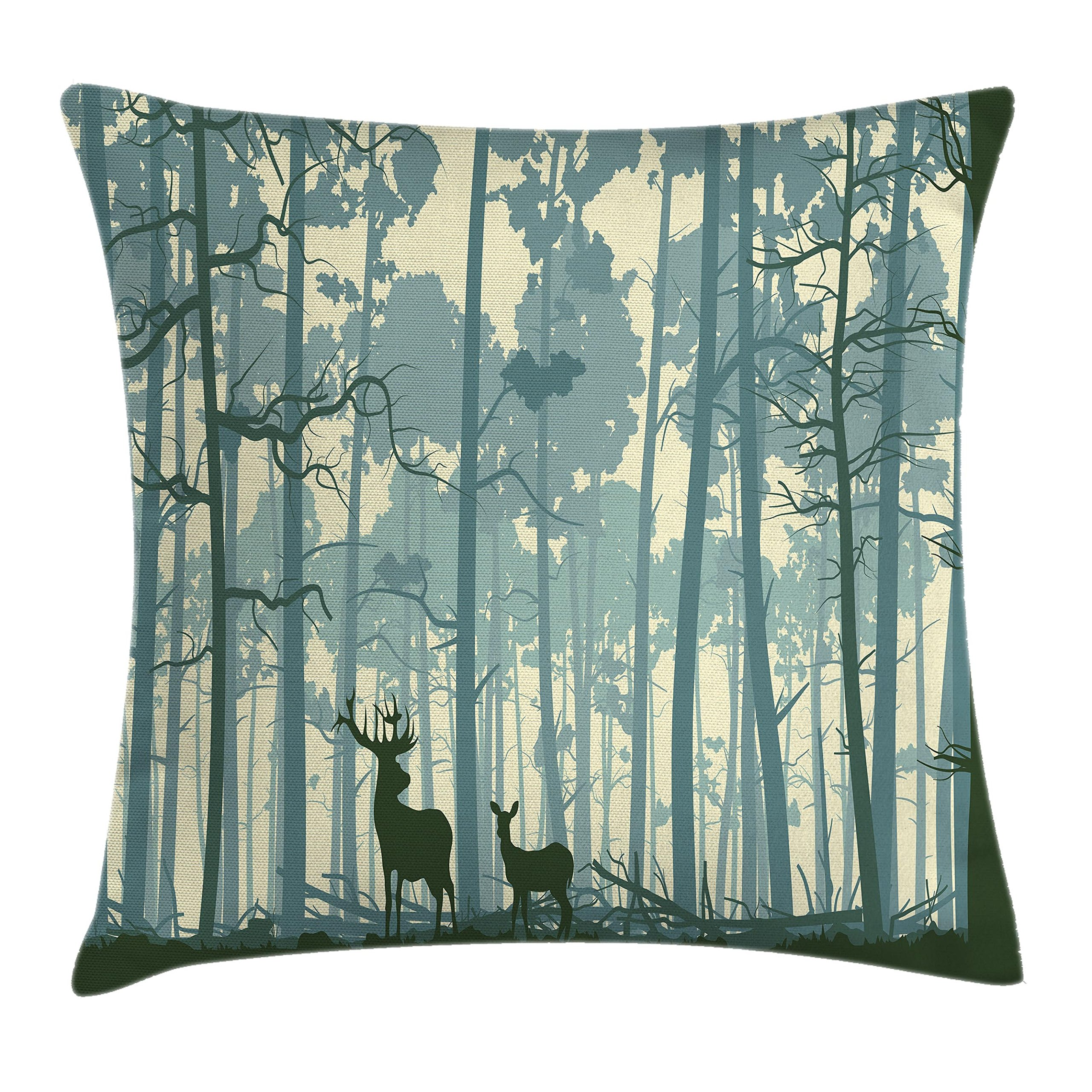 Ambesonne Throw Pillow Cushion Cover, Silhouette of Animal in Foggy Forest Animals in Nature Themed Cartoon Dusk Artwork, Decorative Square Accent Pillow Case, 20 X 20 Inches, Black White Grey