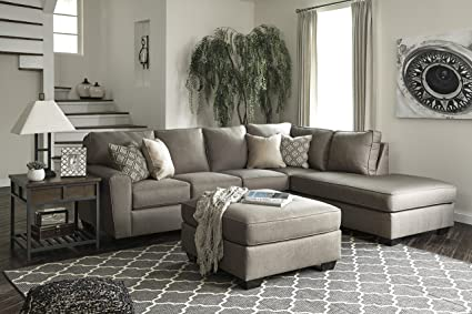 Calicho Contemporary Cashmere Color Fabric Sectional Sofa And Oversized  Ottoman