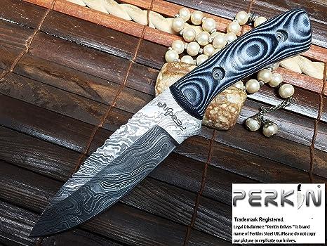 Perkin Knives Acero de Damasco Cuchillo de Caza con Vaina de Piel