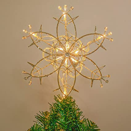 Valery Madelyn 10 Light 11 8 Inch Elegant Champagne Gold Star Treetop Metal Christmas Tree Topper Battery Operated Not Included