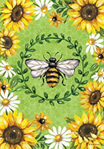 Custom Decor Bumblebees & Sunflowers - Garden Size, Decorative Double Sided, Licensed and Copyrighted Flag - Printed in The USA Inc. - 12 Inch X 18 Inch Approx. Size