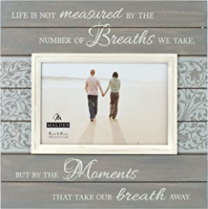 Malden International Designs Sun Washed Woods Moments Distressed Grey Picture Frame, 4x6, Gray