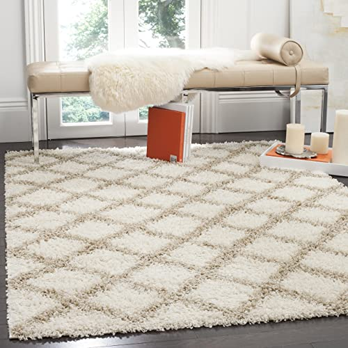 Safavieh Dallas Shag Collection SGDS258B Ivory and Beige Area Rug 8 x 10