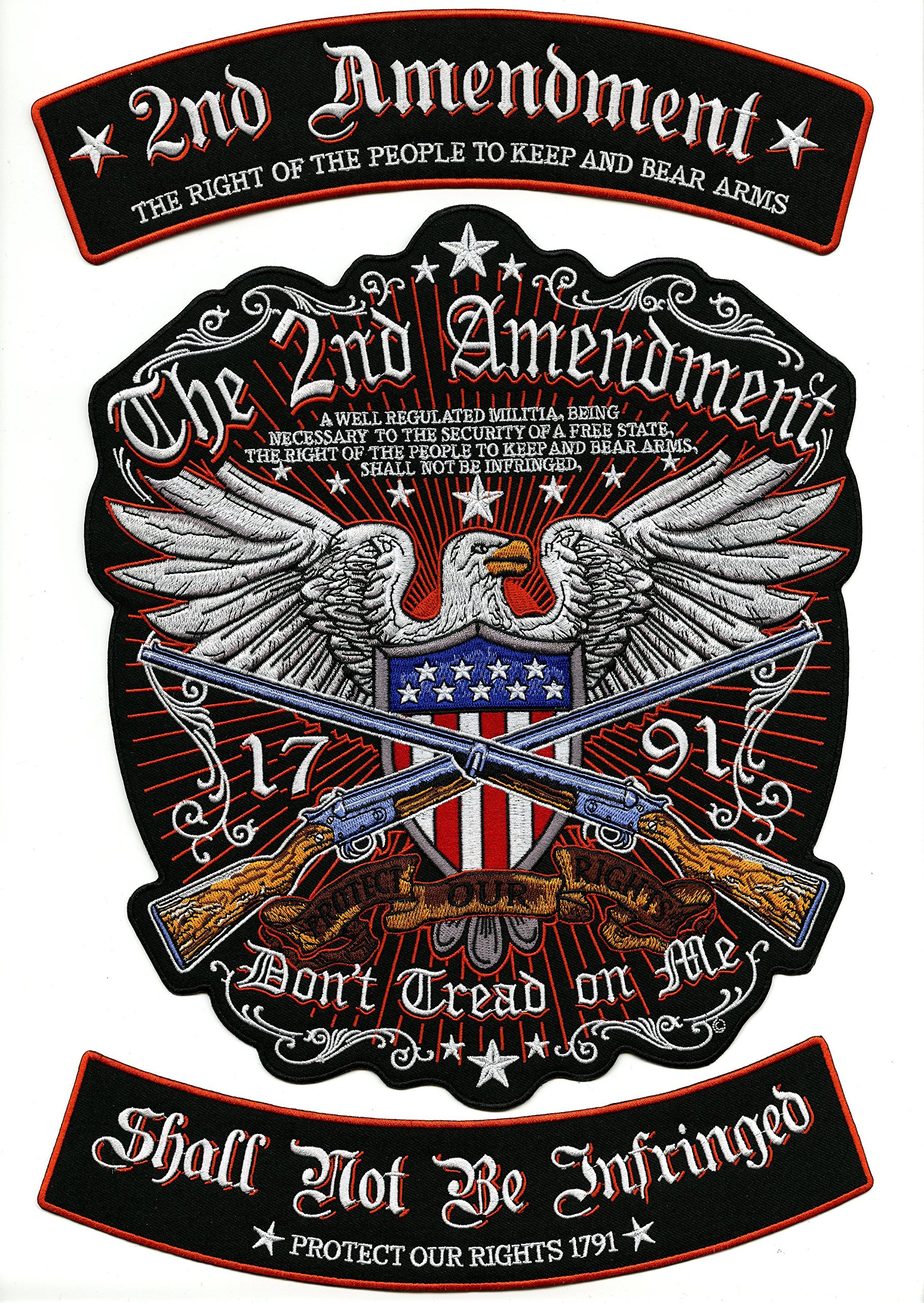 2nd Amendment Rockers Eagle Center Patch | Large Motorcycle Military Patriotic Flag Embroidered Patches | 3pc. Set - by Nixon Thread Co. by Nixon Thread Co.
