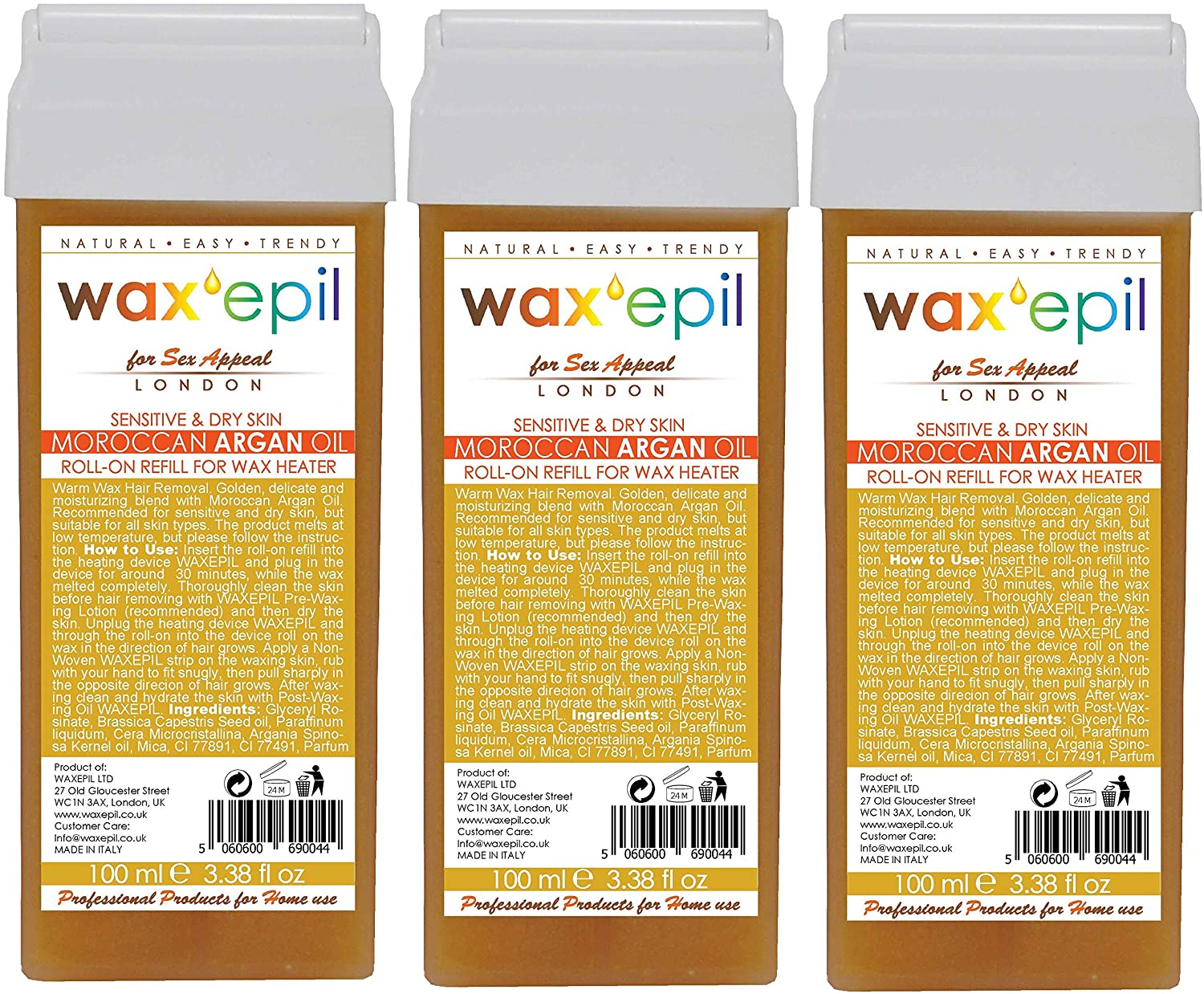 WAXEPIL *Moroccan Argan Oil* for Sensitive Skin - Professional Wax Roll-on Refill/Roller Cartridge Hair Removal - Pack of 3x100ml (Each £2.66)