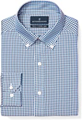 BUTTONED DOWN Men's Tailored Fit Gingham & Stripe Non-Iron Dress Shirt