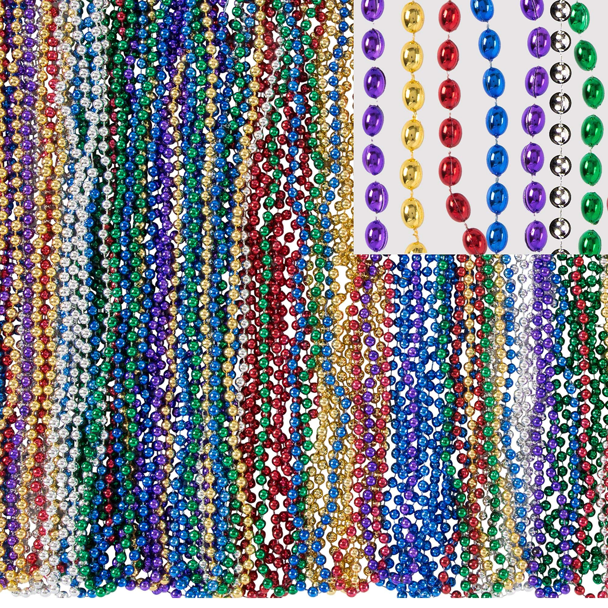 Amscan Mardi Gras Bead Necklaces, Carnival Party Supplies, 6 Assorted Colors, 30'' L, 720 Count by amscan (Image #1)