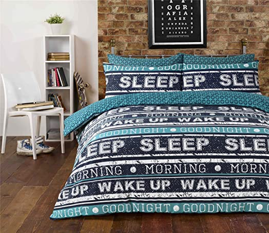 Retro Text Teal Duvet Quilt Cover + PillowCases (Double) By ... : retro quilt covers - Adamdwight.com