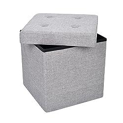 Kendan Stoughton (Gris Clair?Coffre de Rangement Cube Pouf/boîte à Jouets en Tissu Pliable Repose-Pieds