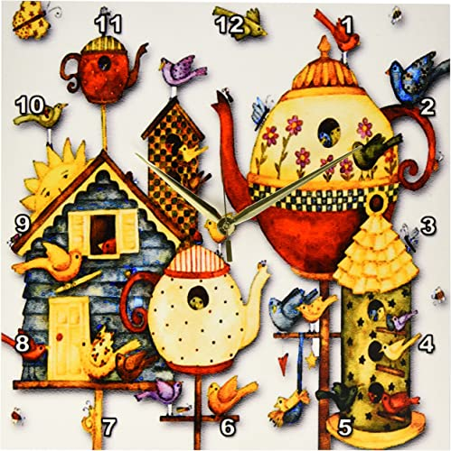3dRose DPP_184658_2 Pretty Decorative Teapots and Birdhouses Wall Clock, 13 by 13-Inch