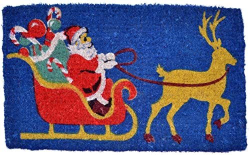Imports D cor Santa Claus Printed Coir Doormat, 30 by 18 by 1-Inch