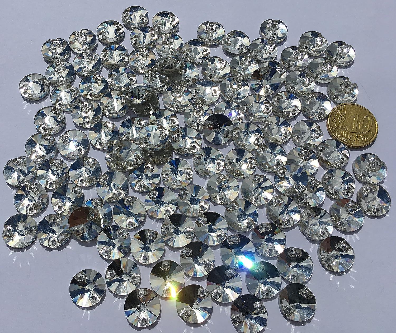 non-brand 20pcs Strasssteine zum Aufn/ähen 12mm Glaskristalle Strass Kristall Diamant Kn/öpfe zum N/ähen f/ür Kleidung Gemischt