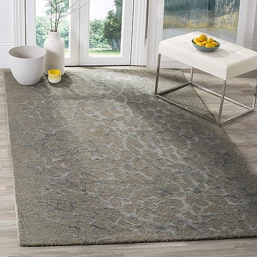Safavieh Blossom Collection BLM695B Handmade Grey and Grey Premium Wool Area Rug 5 x 8