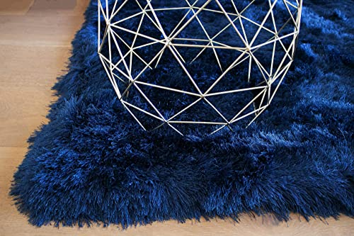 Navy Blue Dark Blue Deep Blue Colors 8×10 Feet Area Rug Carpet Rug Solid Soft Plush Pile Shag Shaggy Fuzzy Furry Modern Contemporary Decorative Designer Bedroom Living Room Hand Woven