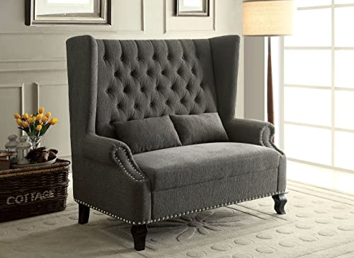 Furniture of America Adia Romantic Wingback Love Seat Chair, Gray
