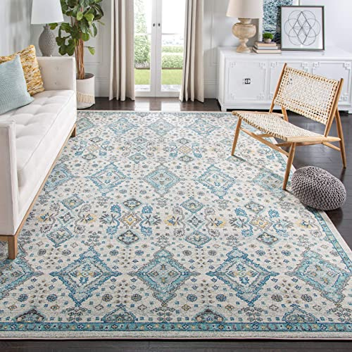 Safavieh Evoke Collection EVK224C Contemporary Ivory and Light Blue Area Rug 6'7″ x 9'