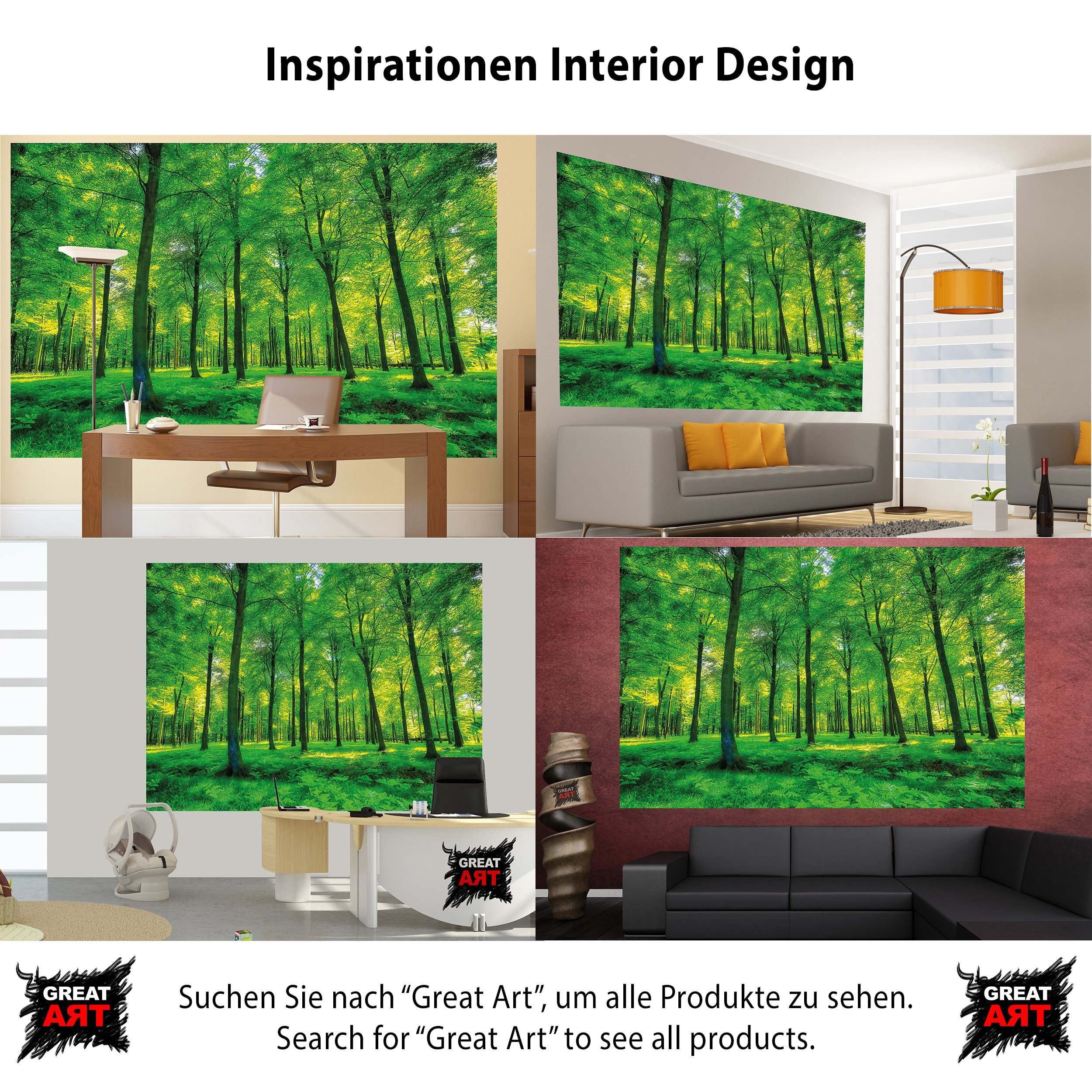 GREAT ART Wallpaper Trees Forest – Nature Wall Photo Decoration Natural Landscape Poster Summer Relax Sun Plants Flora Mural (82.7x55 Inch) by Great Art (Image #4)