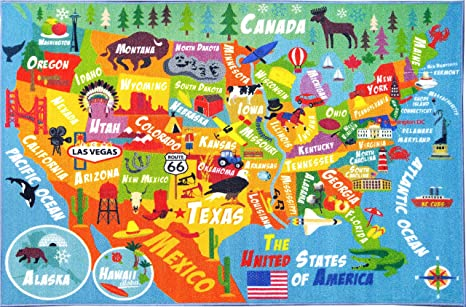 Amazon.com: KC CUBS Playtime Collection USA United States Map ...