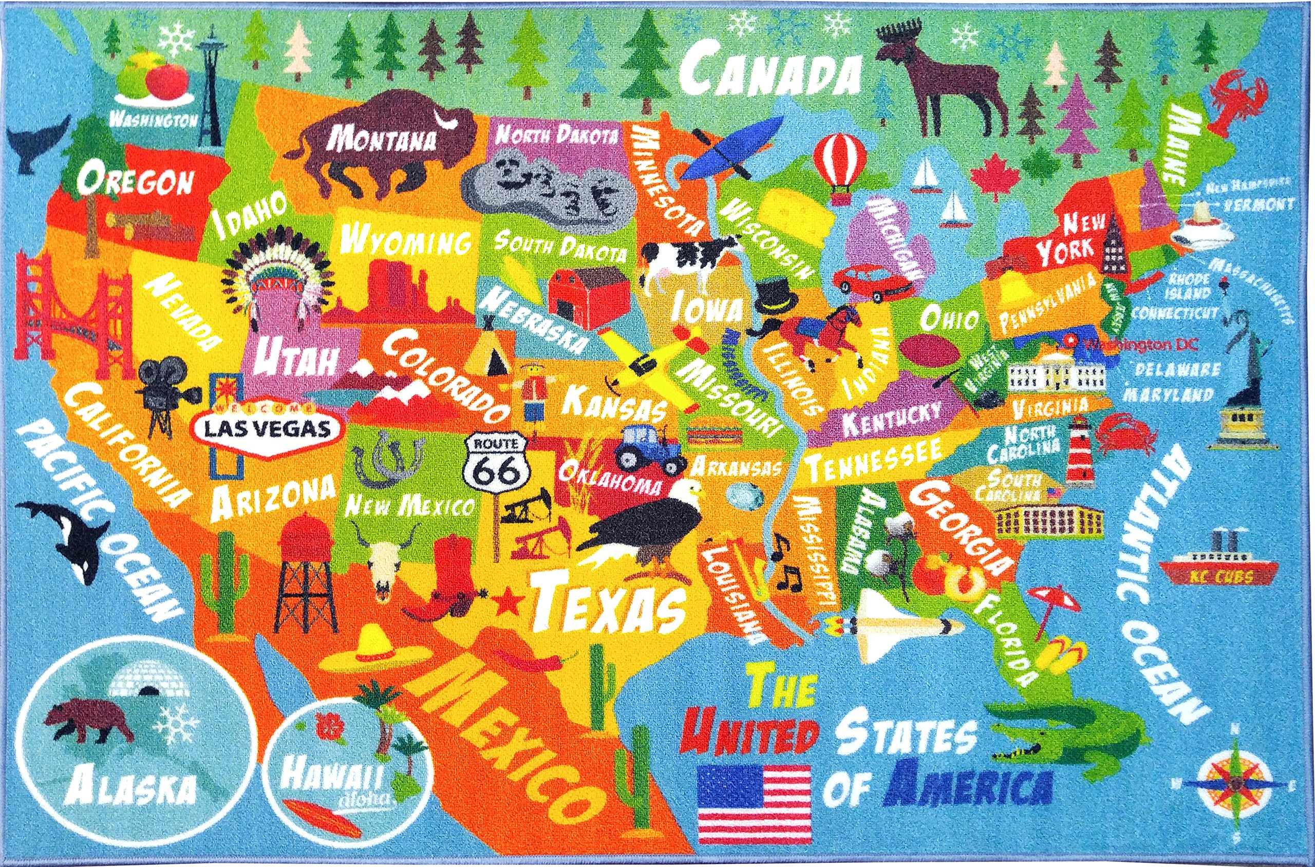 KC CUBS Playtime Collection USA United States Map Educational Learning & Game Area Rug Carpet for Kids and Children Bedrooms and Playroom (3'3'' x 4'7'')