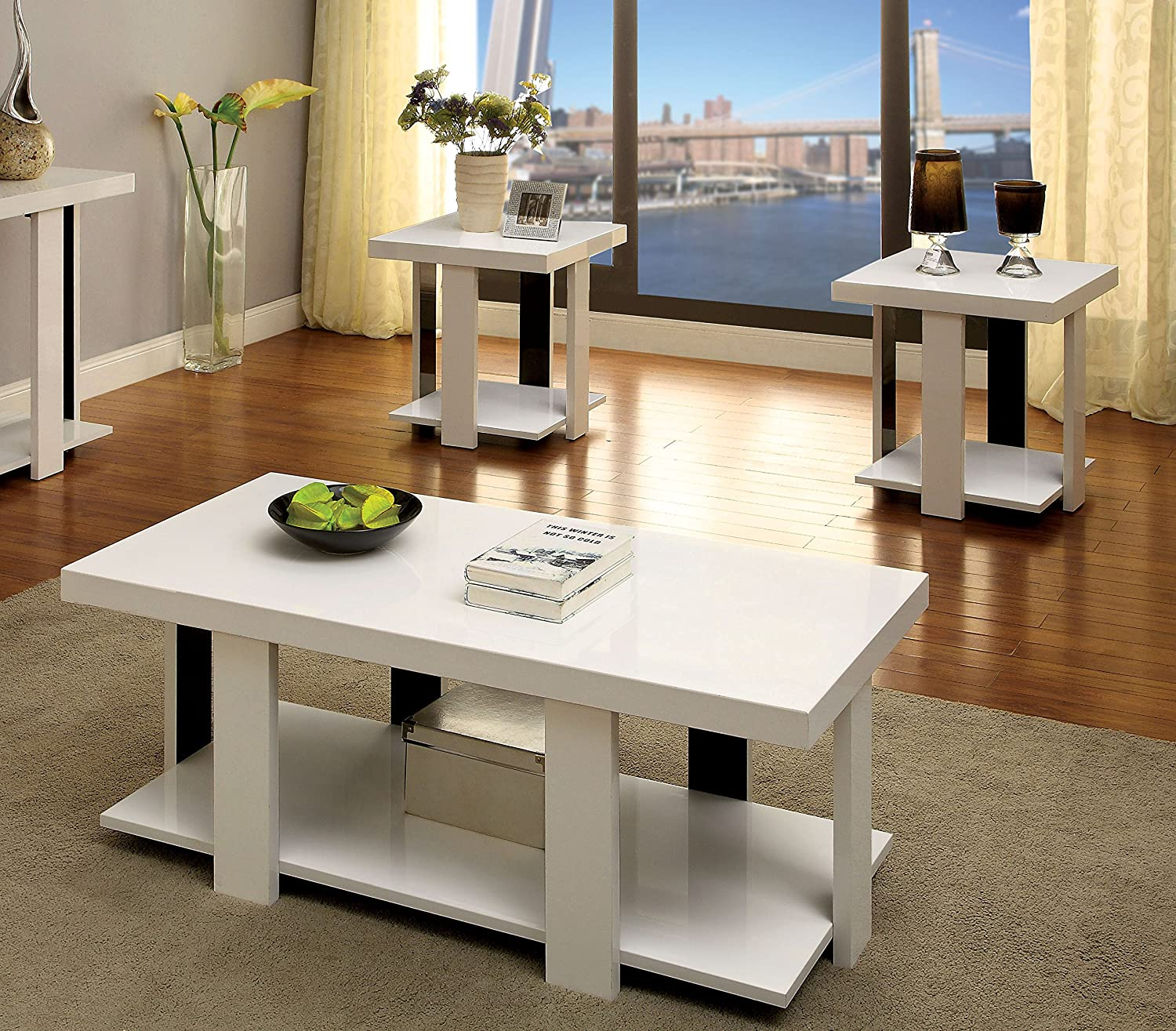 Amazon Furniture of America Oslo 3 Piece Modern Accent Tables