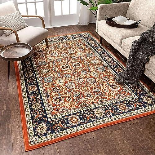 Well Woven Darya Terracotta Orange Modern Sarouk Area Rug Updated Traditional Persian Style 3×5 4×6 3'11″ x 5'3″